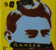 Johnny Romeo Bush Ranger 2010 enamel acrylic and oil on canvas 25.5cm x 25.5cm